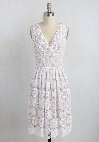 Blockbuster Debut Dress - White, Tan / Cream, Solid, Daytime Party, Graduation, Fit & Flare, Sleeveless, Knit, Lace, Exceptional, V Neck, Long, Sundress, Spring, Summer, Special Occasion, Wedding