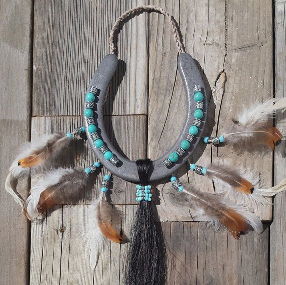 Our horseshoes with dark horse hair inspired by Native American culture!    Double click to visit and make sure you pin it for later!    https://www.etsy.com/listing/251490942/new-horseshoe-decorated-and-inspired-by