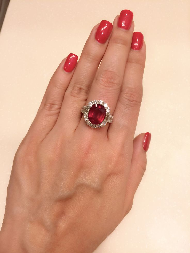 4ct Ruby and 2ct diamond ring , set in 18k white gold