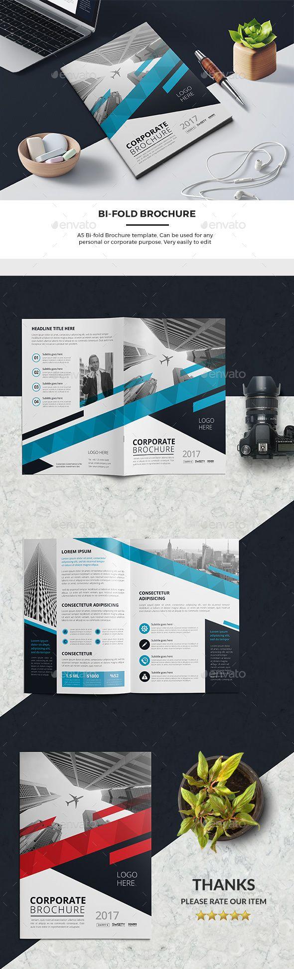 Corporate Business Bi-Fold Brochure Template - #Corporate #Business #Bifold #Brochure #Template #Design. Download here: https://graphicriver.net/item/bifold-brochure/19487639?ref=yinkira