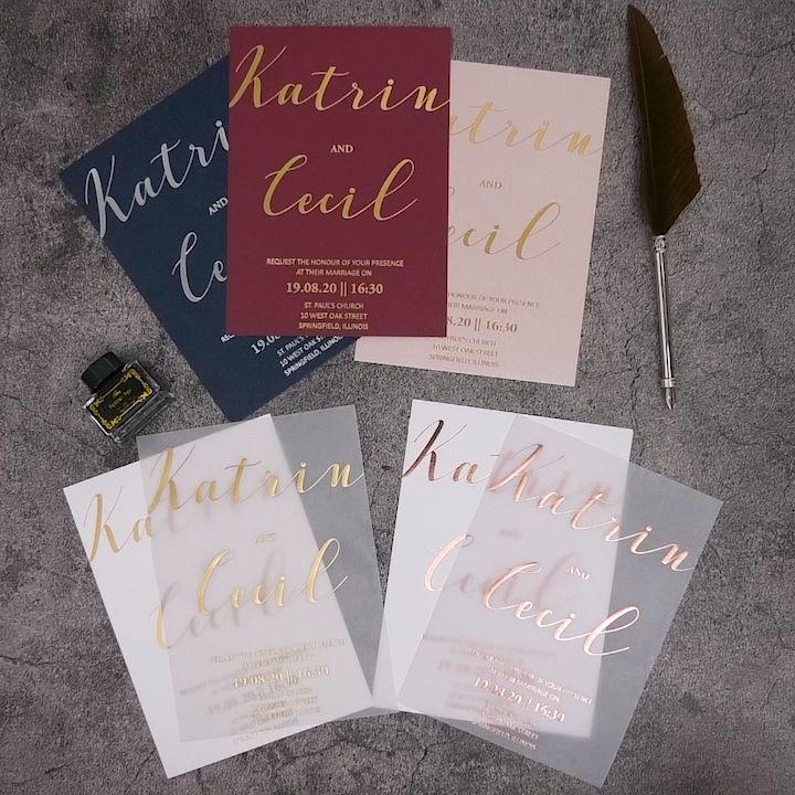modern custom rose gold/gold/silver foil vellum paper wedding invitations #wedding#weddinginvitations#stylishwedd#stylishweddinvitations #vellumweddinginvitations