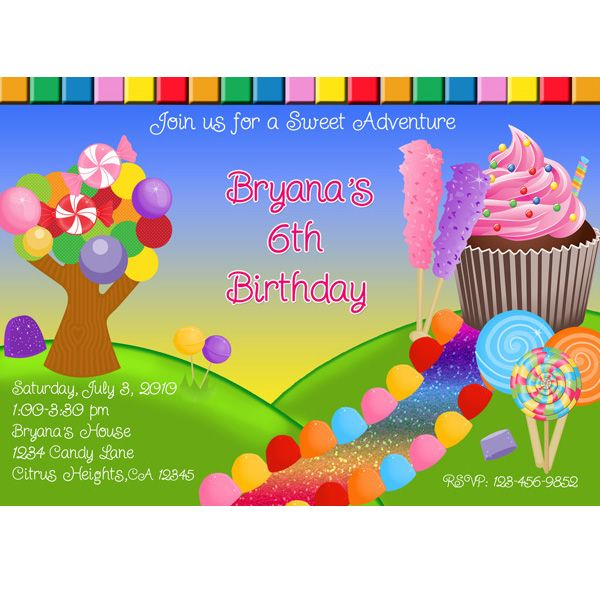 12 best Candyland themed party invitations images – Candy Themed Party Invitations