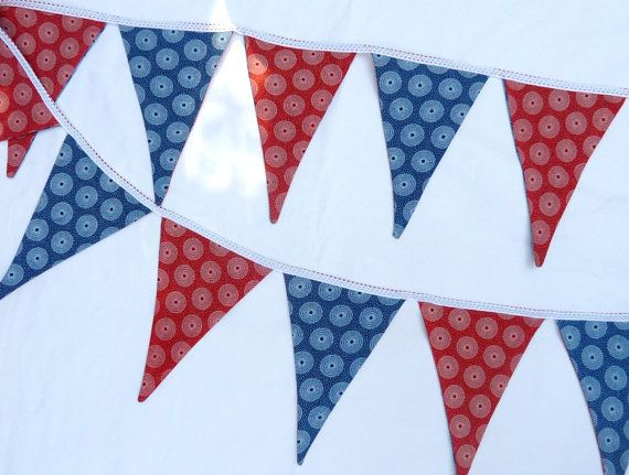 Red and Blue Bunting  Handmade in South Africa by MathildeAndCo, £12.00