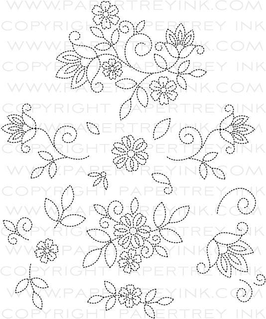 Stitches swirls stamp set papertreyink bordados