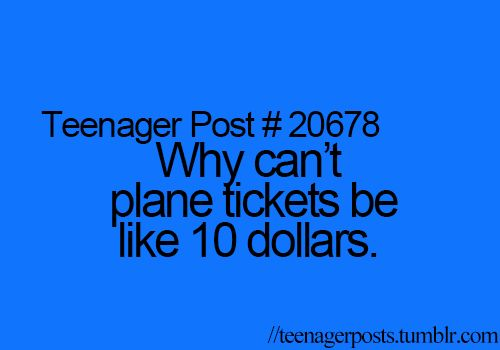 Seriously. The airlines would make MORE money because people would fly more, and I would be able to pay my own way to Europe and New Zealand. XD