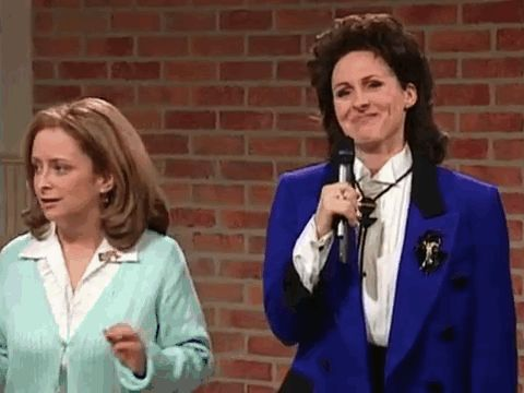 And, finally, Molly Shannon was giggling so hard she should've dropped the mic: | This Supercut Of SNL Actors Breaking Character Is Amazing