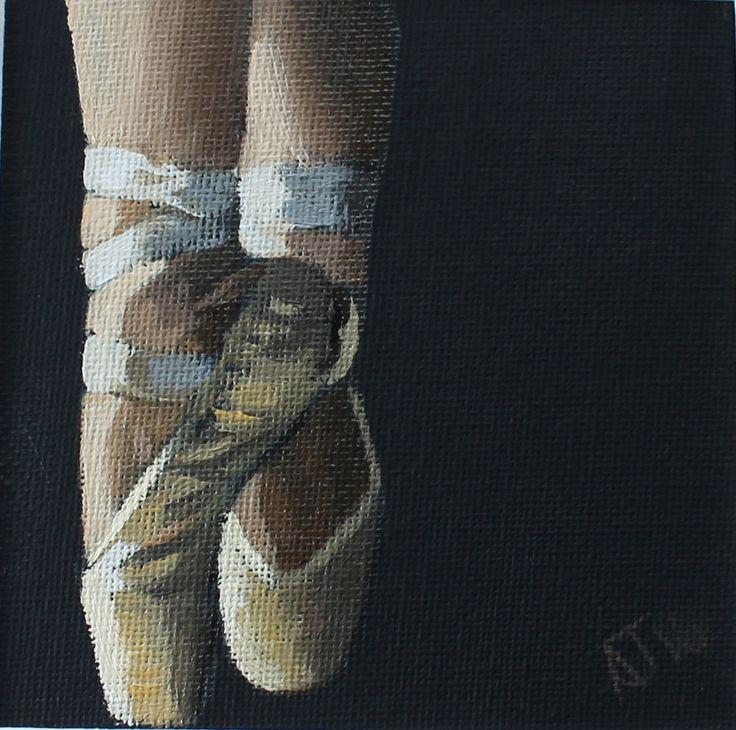ballet shoes painting original dancer oil art canvas ballerina artist figurative