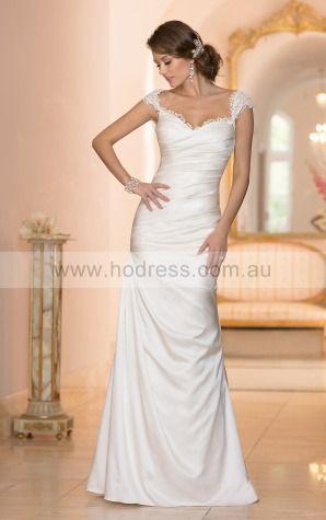 Sheath V-neck Empire Cap Sleeves Asymmetrical Wedding Dresses wes0096--Hodress