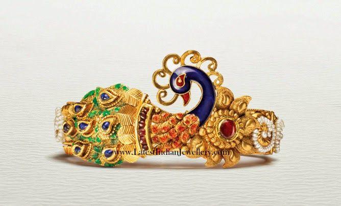 Peacock Design Gold Kada Bangle