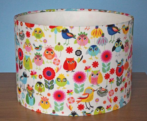 Cute woodland birds, owls, flowers lampshade – 30cm diameter shade