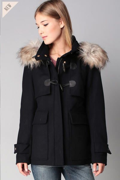 Manteau laine navy à capuche fourrée Jenny Only prix Manteau Femme Monshowroom 109.95 €