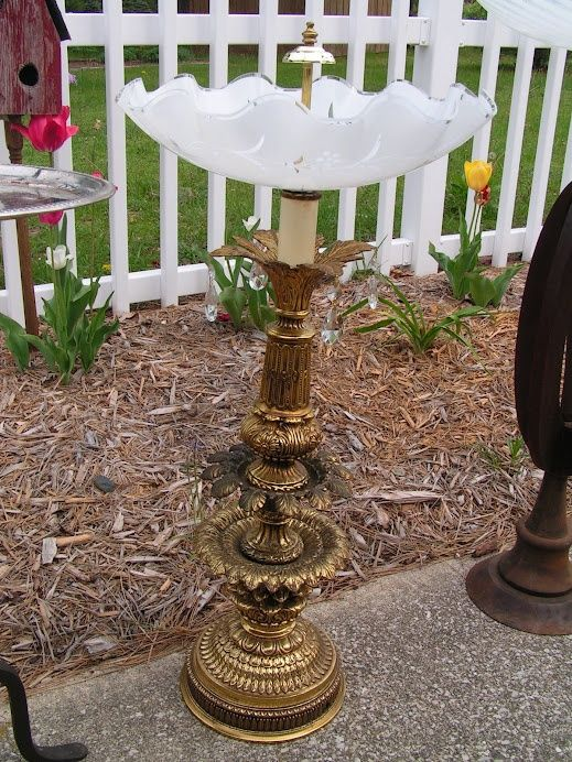 This is made from an old lamp base and a fancy scalloped ceiling fixture bowl. Whoever buys this will have their birds drinking and bathing in style and elegance!: Lamps Birds, Lights Fixtures, Birds Feeders, Birdbaths, Old Lamps, Birds Bath, Bath Ideas, Lamps Based, Ceilings Fixtures