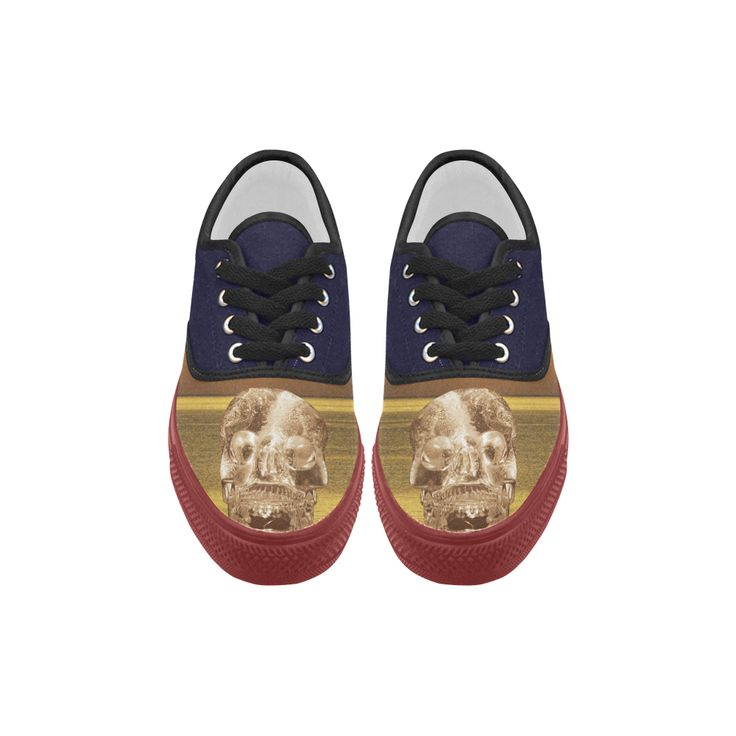 Crystal Skull Gold Aries Canvas Platform Men Shoes