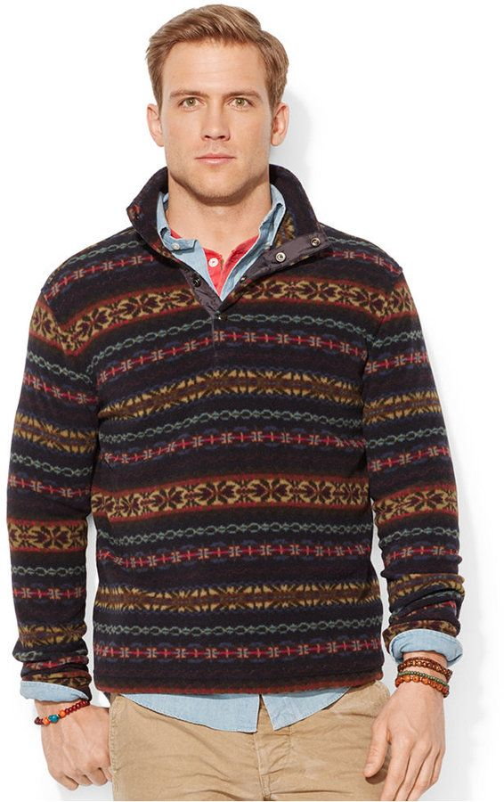 Polo ralph lauren fair isle fleece pullover crafted from for Fair isle pullover damen