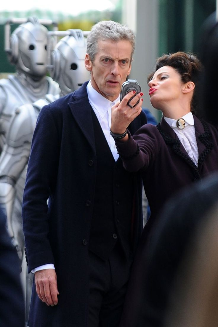 Doctor Who series 8 filming sees Cybermen take over Cardiff - Wales Online - The Doctor (Peter Capaldi) and Missy (Michelle Gomez) pose for a selfie with the Cybermen.