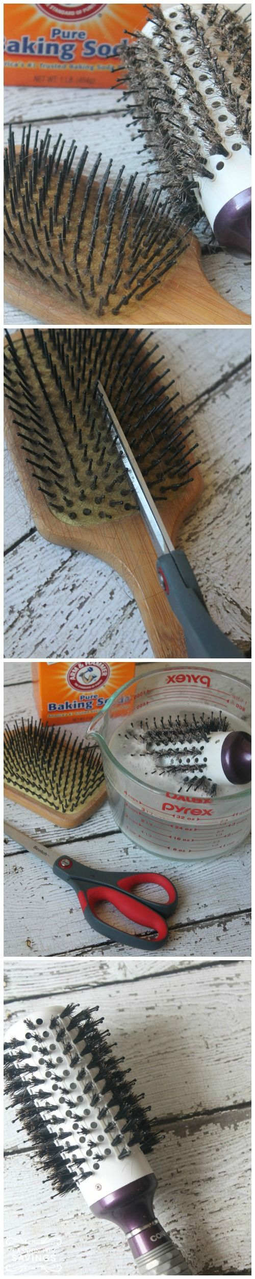 Take Scissors and cut about every 3rd row between the bristles to loosen hair Gently lift hair off of brush with a Pen or the end of a teasing comb Place 4 cups of Water in the Microwave for 3 or 4 Minutes until it is Hot Add 3 Tbsp. of Baking Soda to Hot Water Place Brush in the Hot Water Mixture to clean build up off your brush Scrub Gently with another brush or your hand to remove build up Remove from water and allow to dry