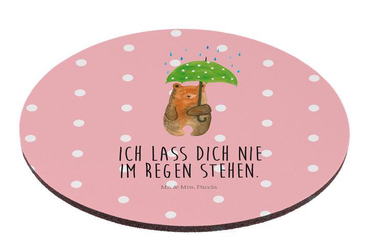 """Mauspad rund Bär mit Regenschirm aus Naturkautschuk  black - Das Original von Mr. & Mrs. Panda.  Ein wunderschönes rundes Mouse Pad der Marke Mr. & Mrs. Panda. Alle Motive werden liebevoll gestaltet und in unserer Manufaktur in Norddeutschland per Hand auf die Mouse Pads aufgebracht.    Über unser Motiv Bär mit Regenschirm  """"Ich lasse dich nie im Regen stehen"""" - das gilt für unsere Freunde, für unsere Familie und für unseren Partner. Und diesen besonderen Menschen kann man eigentlich nicht…"""