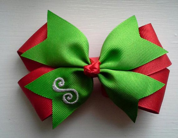 Christmas Hair Bow with Initial Monogram Red by TheJMarieBoutique, $6.00