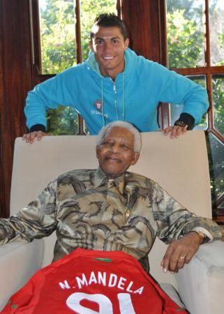 Nelson Mandela with Cristiano Ronaldo