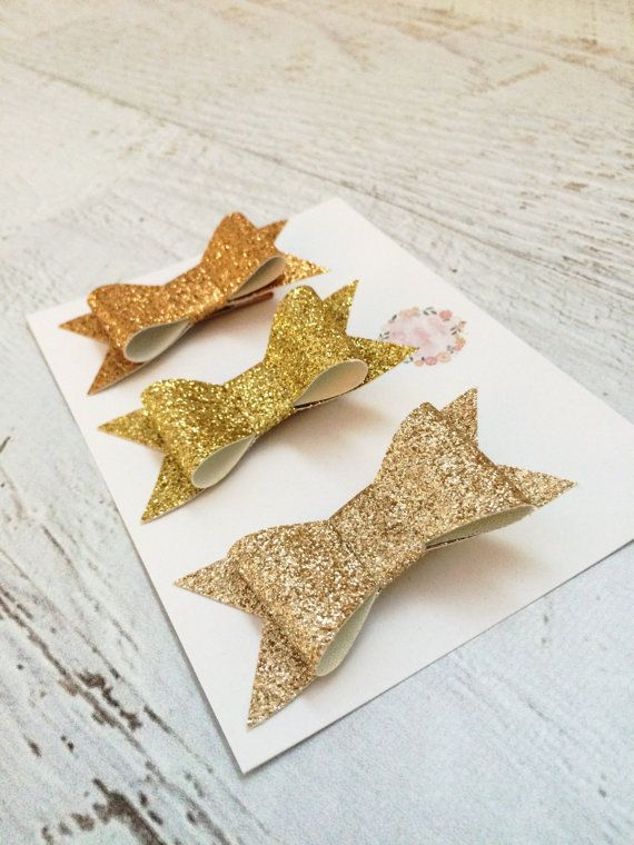 Gold Glitter Bows  Mini Glitter Hair Bows  by MiniMayDesigns