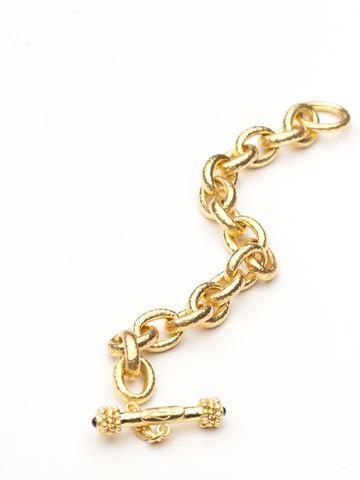 Elizabeth Locke 19kt hand-hammered yellow gold link bracelet