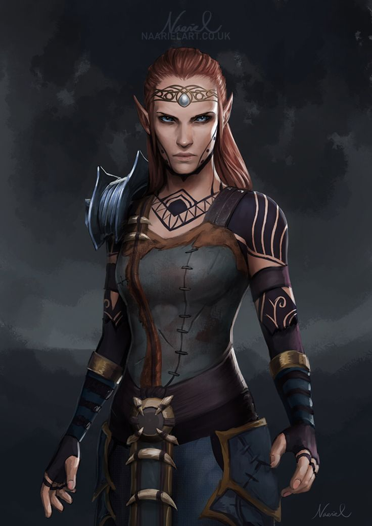 f Wood Elf Ranger Royal Constable to the Elves Leather Sword Elder Scrolls Online Commission: Elf by Naariel on @DeviantArt