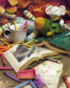 """""""Dolls, Books & Crayons"""" oil on linen by Daniel Keys"""