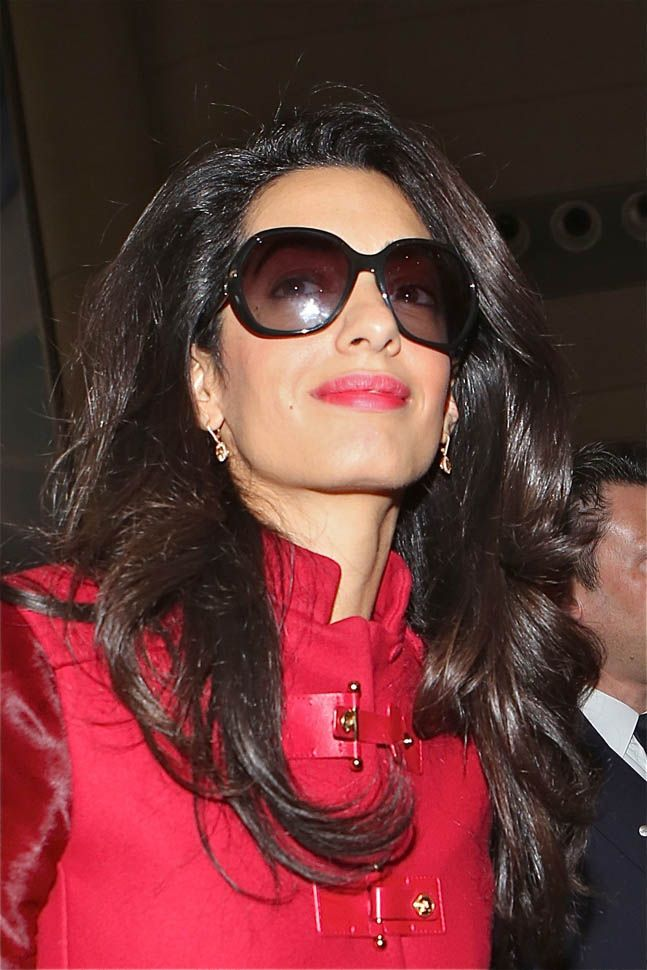 Amal Clooney at LAX in red leather jacket after Cabo and Golden Globes|Lainey Gossip Entertainment Update