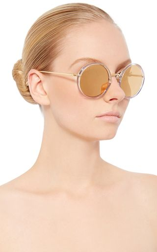 Round Sunglasses With Reflective Gold Lenses by LINDA FARROW