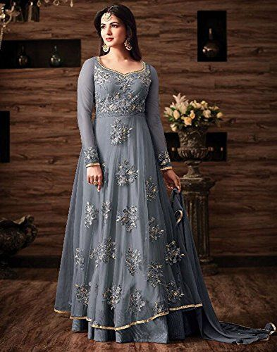 5b97659d26 Sasimo Women s Gown Latest Party Wear Design Georgette silk Embroidery Semi  Stitched Free Size Salwar Suit Dress Material (JuliGrey-2018   Grey) ...