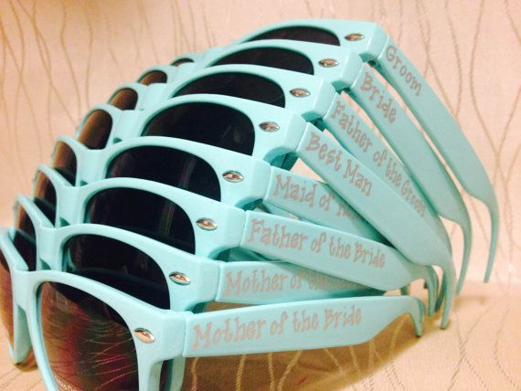 Set of 10 TEAL personalized sunglasses for by GreenBridalBoutique
