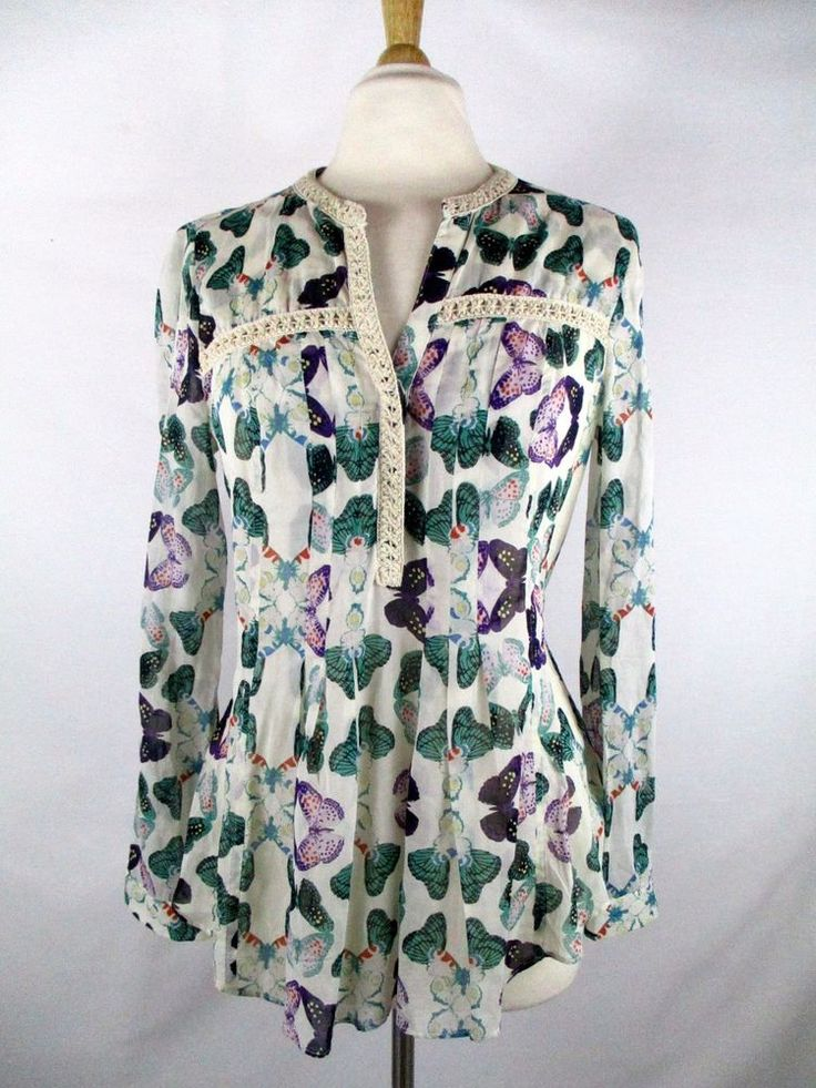 Maeve Sz 8 Abella Pintuck Anthropologie Butterfly Pleated Flowing Top Blouse #Anthropologie #Blouse
