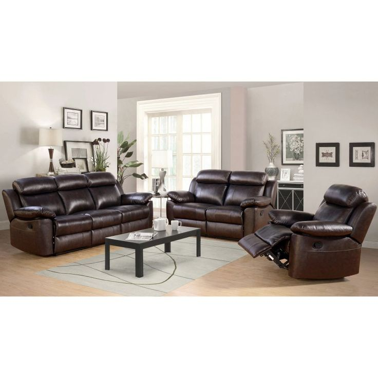 Abbyson Dominica Top Grain Leather Reclining Sofa Set Living Room Leather Living Room Sets 3 Piece Living Room Set