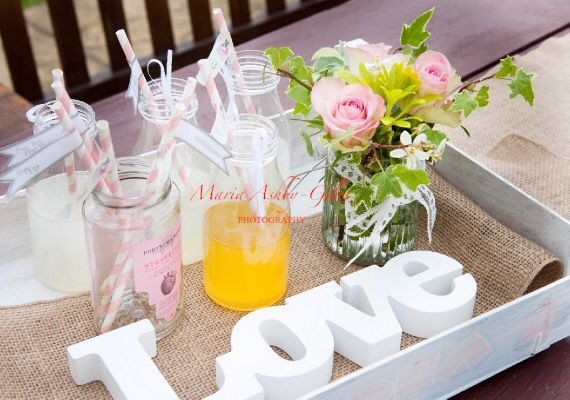 Hire our vintage style milk bottles, signage and create your own drinks stations for your guests to enjoy. Use jam jars to display straws. All available from Fuschia.