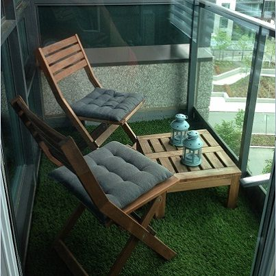 Got a small balcony? Make it an urban oasis; just add a little artificial grass: http://www.lowes.ca/products/view.aspx?sku=10369711.