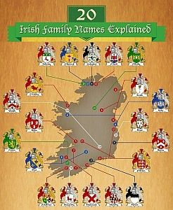 If you have Irish roots, this Infographic gives details about 20 of the most common Irish surnames.