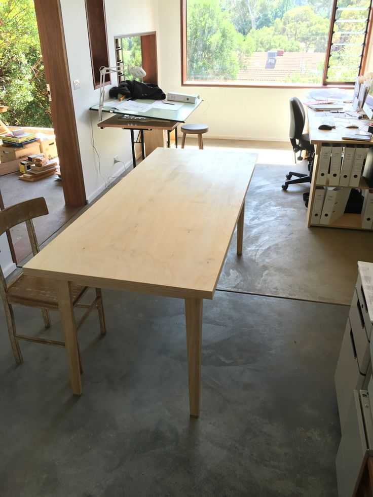One of our All-ply tables for Stephen Lumb Architects new studio.  This scalable rectilinear design produces little waste and is made from plantation Hoop Pine with E0 glue.  Ply is efficient use of the log and is light and strong. Sugar Gum feet form a durable end on the leg.