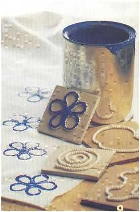 stamps made from cord. Good idea!