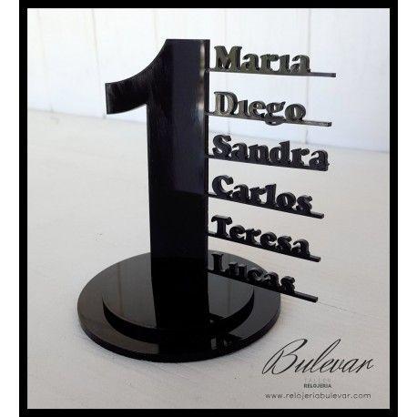 PVP: 13 €(Descuentos por cantidad) Número con nombres de identificación para mesas de bodas y otros eventos en metacrilato.