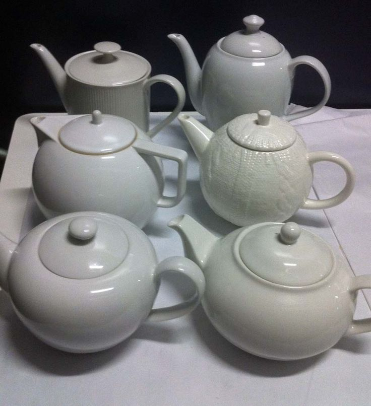 White china teapots