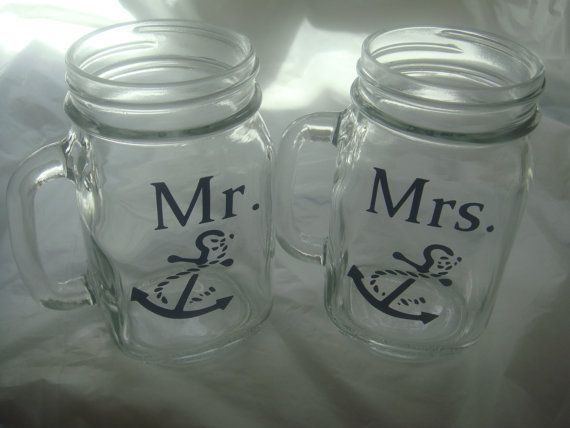 Mr. and Mrs. Boat Anchor 16 oz. Mason Jars, nautical themed Glasses for Bride and Groom, Wedding Gift on Etsy, $18.00