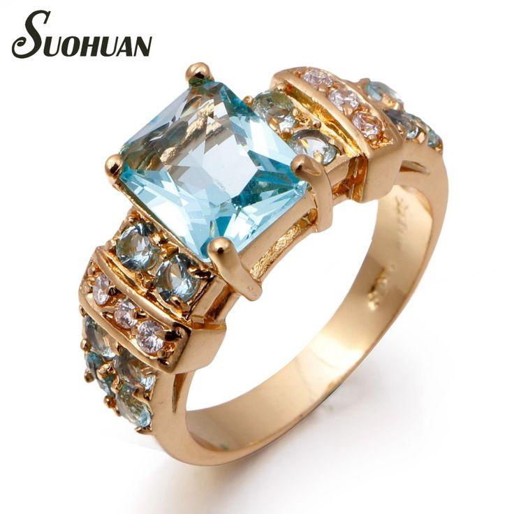 2016 Nieuwe Stijl Merk sapphire sieraden Vrouw Blauw Aquamarijn Ring 18 K Real Geel vergulde Ringen voor vrouwen Gift groothandel(China (Mainland))