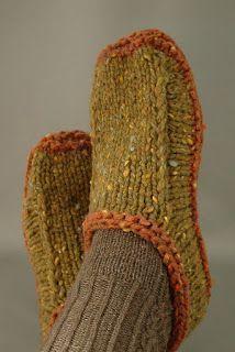 Knitting Spiro: Non-felted Slippers Anleitung auf Deutsch
