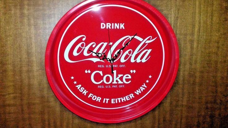 Tray Wall Clock Metal  **COCA COLA Coke** diameter 33cm X 5,5cm thickness #Handmade #COCACOLACoke