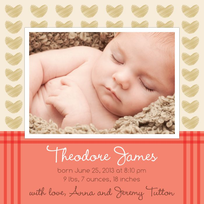 """""""Sketched Hearts"""" Baby Announcement Template by Amy Mullen 