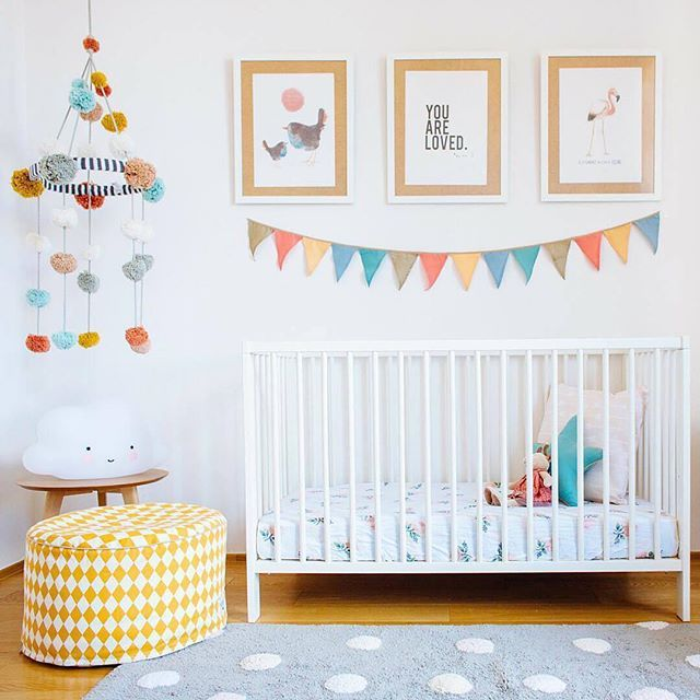 Our Pom Pom Mobile featured in the latest project from @babybottega transforming a home office into a bright modern #babyroom :balloon::balloon: #style #lifestyle