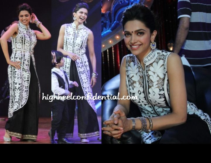 Deepika and Ranbir attended the finale of India's Best Dramebaaz to which she wore a white Pankaj and Nidhi embroidered jacket with black Sabyasachi bottoms.