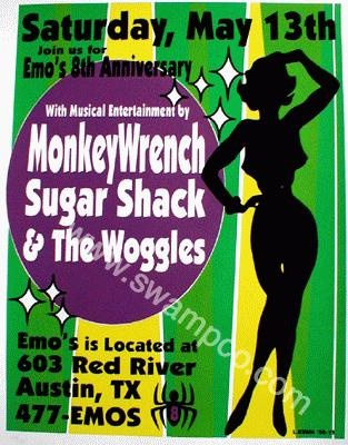 Original concert poster for Monkeywrench / Sugarshack / The Woggles at Emo's in Austin Texas 17x23 hand-screened limited edition of only 125. Signed & numbered by Lindsey Kuhn