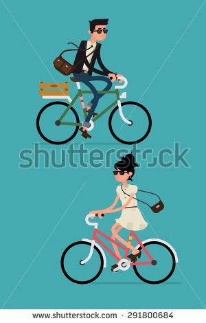 Cool vector character design on adult young man and woman riding bicycles. Stylish male and female hipsters on bicycle, side view, isolated