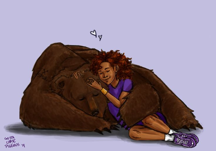 "by gottachasepigeons:  ""Frank probably gives the best bear hugs"" (Frank Zhang and Hazel Levesque)"